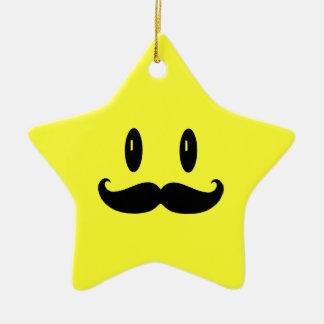 Ornamento del hombre del bigote de la estrella adorno navideño de cerámica en forma de estrella