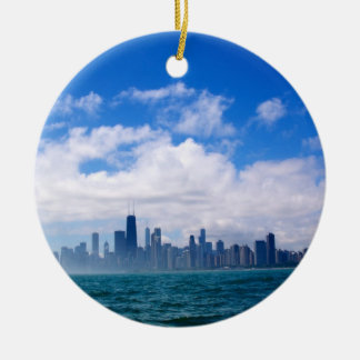 Ornamento del horizonte de Chicago Adorno Navideño Redondo De Cerámica