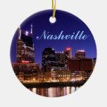 Ornamento del horizonte de Nashville Adorno Navideño Redondo De Cerámica