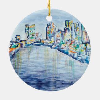 Ornamento del horizonte de Philadelphia Adorno Redondo De Cerámica