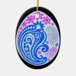 Ornamento del huevo - Paisleys en colores pastel 5 Ornamente De Reyes