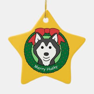 Ornamento del husky siberiano adorno navideño de cerámica en forma de estrella