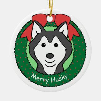 Ornamento del husky siberiano adorno navideño redondo de cerámica