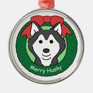 Ornamento del husky siberiano adorno navideño redondo de metal