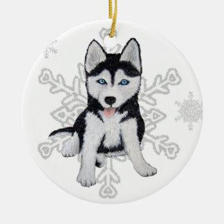 Ornamento del husky siberiano adorno redondo de cerámica