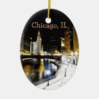 Ornamento del invierno de Chicago Adorno Navideño Ovalado De Cerámica
