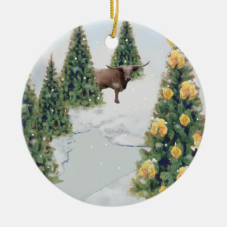 Ornamento del invierno de Tejas Adorno Redondo De Cerámica