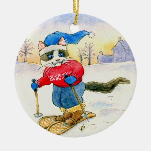 Ornamento del invierno del gato de la raqueta del  adorno de reyes