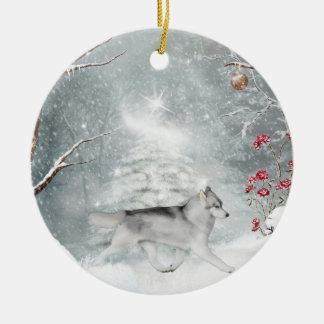 Ornamento del invierno del husky siberiano adorno redondo de cerámica
