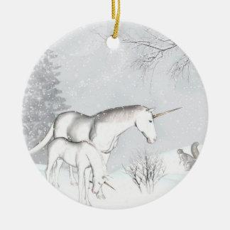Ornamento del invierno del unicornio adorno de navidad