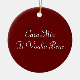 Ornamento del italiano de Voglio Bene del Ti de Adorno Navideño Redondo De Cerámica