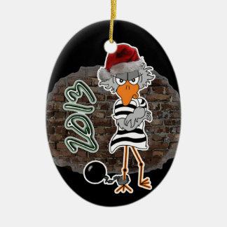 Ornamento del Jailbird del navidad Adorno Navideño Ovalado De Cerámica