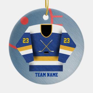 Ornamento del jersey del jugador de hockey adorno navideño redondo de cerámica
