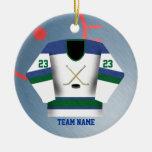 Ornamento del jersey del jugador de hockey ornamentos de reyes