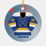 Ornamento del jersey del jugador de hockey ornamente de reyes