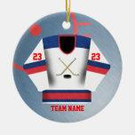 Ornamento del jersey del jugador de hockey adorno redondo de cerámica