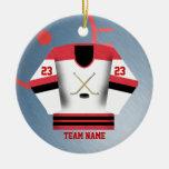 Ornamento del jersey del jugador de hockey ornamento para reyes magos