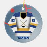 Ornamento del jersey del jugador de hockey adorno de reyes