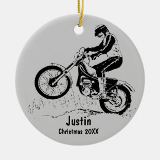 Ornamento del jinete de la bici de la suciedad adorno navideño redondo de cerámica
