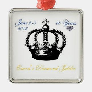 Ornamento del jubileo de diamante del Queens 2012 Adorno Cuadrado Plateado