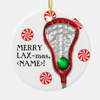 ornamento del lacrosse de los chicas adorno navideño redondo de cerámica