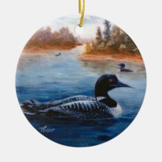 Ornamento del lago loon adorno navideño redondo de cerámica