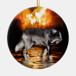 Ornamento del lobo gris adorno redondo de cerámica