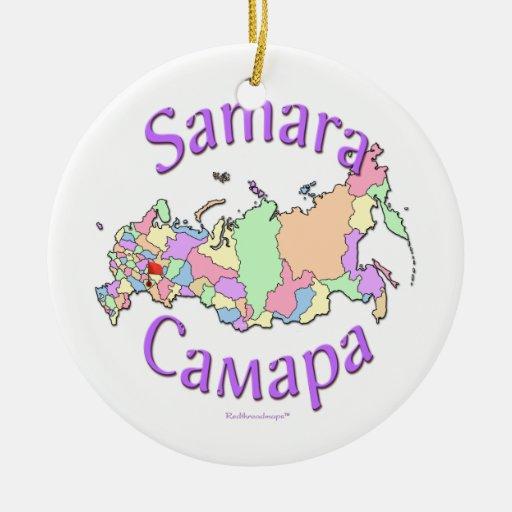 Ornamento del mapa de Rusia del Samara Adorno De Navidad