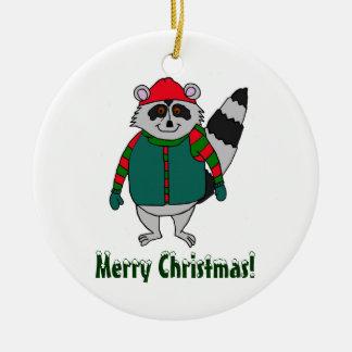 Ornamento del mapache del invierno de las Felices Adorno Navideño Redondo De Cerámica