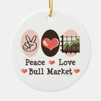 Ornamento del mercado alcista del amor de la paz adorno navideño redondo de cerámica