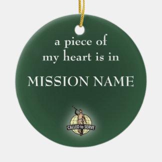 Ornamento del misionario de LDS. personalizable Adorno Navideño Redondo De Cerámica