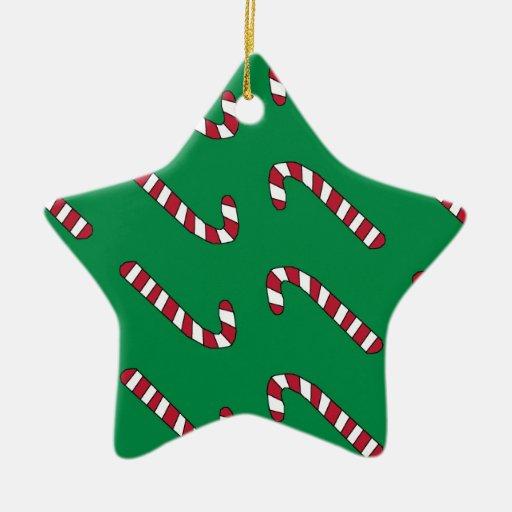 Ornamento del modelo del bastón de caramelo adorno navideño de cerámica en forma de estrella