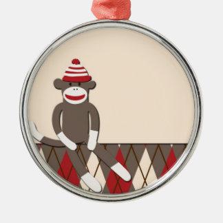 Ornamento del mono del calcetín de Argyle Adornos