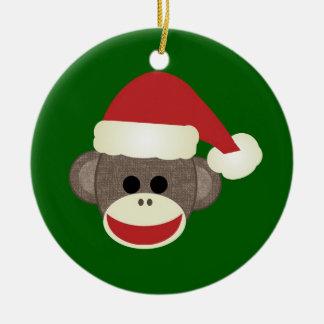Ornamento del mono del calcetín de Santa Adorno Navideño Redondo De Cerámica