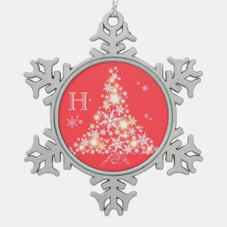 Ornamento del monograma de la familia del árbol de adornos