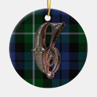 Ornamento del monograma de la tela escocesa de Cam Ornamento Para Arbol De Navidad
