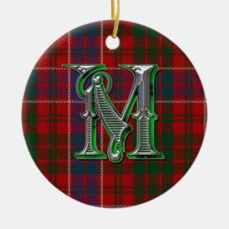 Ornamento del monograma de la tela escocesa de ornamentos de reyes