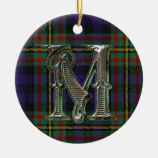 Ornamento del monograma de la tela escocesa de ornatos