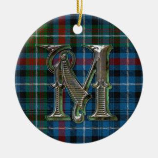 Ornamento del monograma de la tela escocesa de ornamento para reyes magos