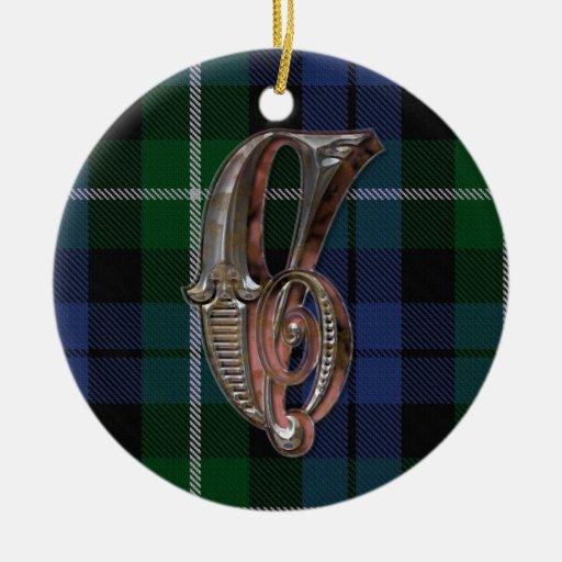 Ornamento del monograma de la tela escocesa de ornamento para arbol de navidad