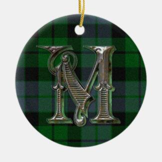 Ornamento del monograma de la tela escocesa de ornamentos para reyes magos