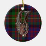 Ornamento del monograma de la tela escocesa de adorno de reyes