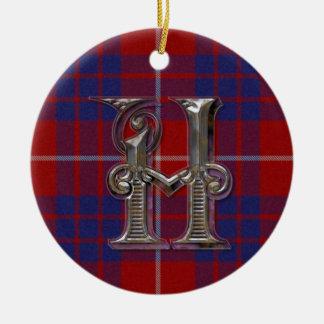 Ornamento del monograma de la tela escocesa de Ham Ornamentos Para Reyes Magos