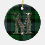 Ornamento del monograma de la tela escocesa de Mac Ornamentos Para Reyes Magos