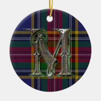 Ornamento del monograma de la tela escocesa de Mac Ornamento Para Arbol De Navidad