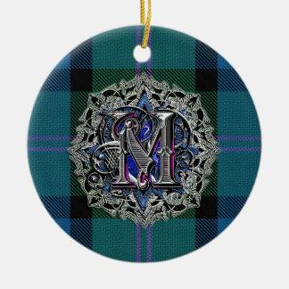 Ornamento del monograma de la tela escocesa del ornamentos de reyes magos
