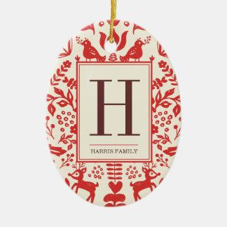 Ornamento del monograma del arte popular y del día adorno navideño ovalado de cerámica