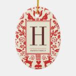Ornamento del monograma del arte popular y del día adorno ovalado de cerámica