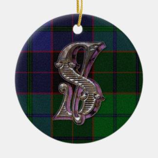 Ornamento del monograma del clan de Stewart Adorno Navideño Redondo De Cerámica