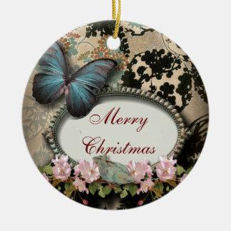 ornamento del monograma del damasco de la mariposa adornos de navidad